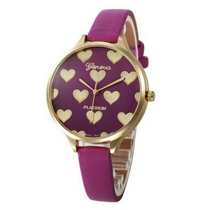 New Womens Heart Pattern Quartz Watch